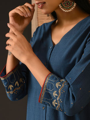 ZAARA - Indigo Natural-dyed Handloom Cotton Kurta with Hand Embroidery