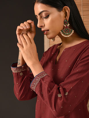 TAARA - Maroon Natural-dyed Handloom Cotton Kurta with Hand Embroidery