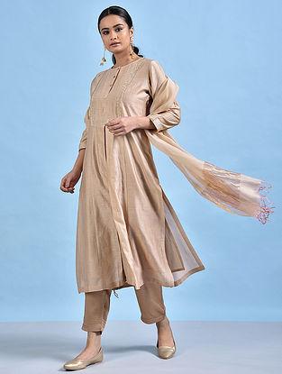 NOOR - Beige Embellished Silk Cotton Kurta with Pleats
