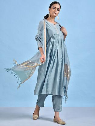 MUNEER - Blue Embellished Silk Cotton Kurta with Gathers