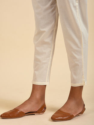 Ivory Elasticated Waist Cotton Pants