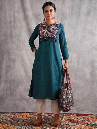 NAVLAKHI - Teal Mangalgiri Cotton Kurta with Vintage Embroidered Yoke and Tassels