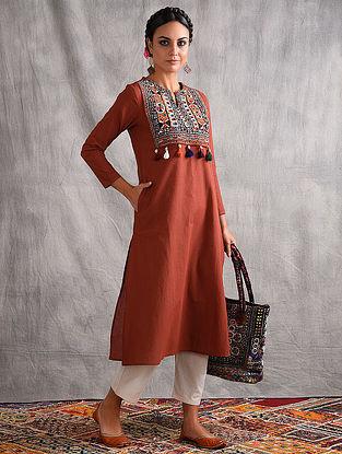 VORI - Rust Mangalgiri Cotton Kurta with Vintage Embroidered Yoke and Tassels