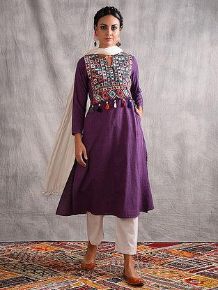 VIKIYA - Purple Mangalgiri Cotton Kurta with Vintage Embroidered Yoke and Tassels