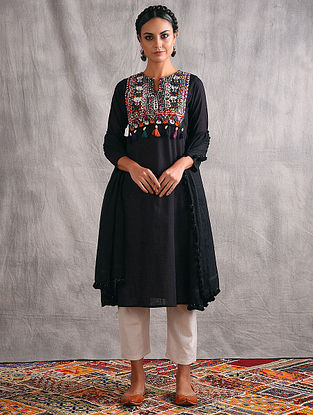 VAHU - Black Mangalgiri Cotton Kurta with Vintage Embroidered Yoke and Tassels