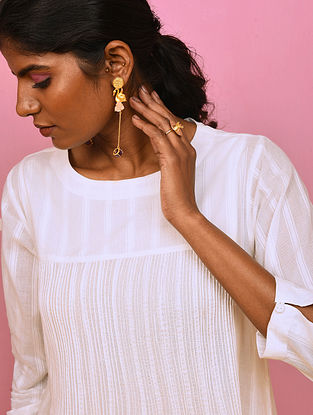 DHAVE - White Cotton Dobby Kurta with Pintuck