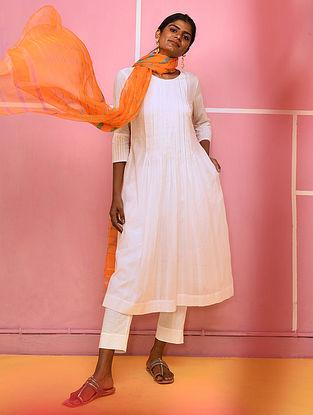 LIYO - White Cotton Dobby Kurta with Pleats