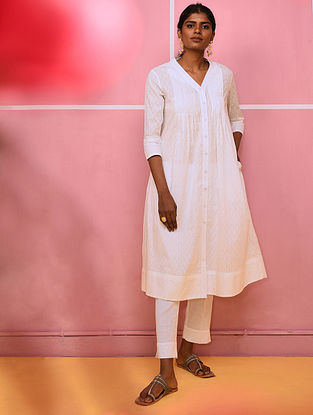 BILJI - White Cotton Dobby Kurta with Pleats