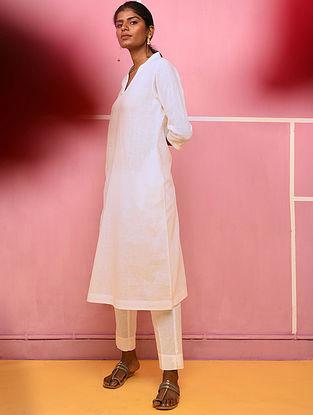 PANDHARA - White Cotton Dobby Kurta with Pocket