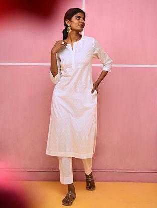 DHALA - White Cotton Dobby Kurta with Pocket
