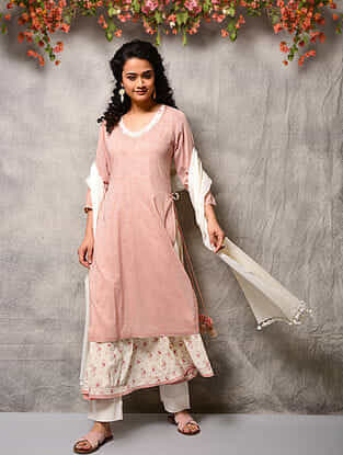 Pink Printed Cotton Double layer Kurta with Tassels