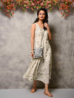 Ivory-Beige Printed Cotton Dress with Pockets
