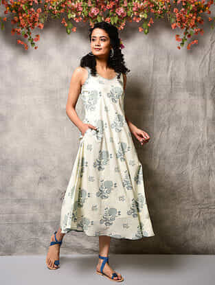 Ivory-Blue Printed Cotton Dress with Pockets