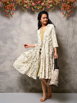 Ivory-Beige Printed Cotton Double layer Dress with Tassels