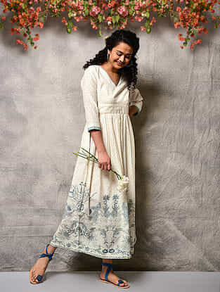 Ivory-Blue Printed Cotton Dress with Gathers