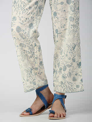 Ivory-Blue Elasticated-waist Printed Cotton Pants