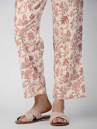 Ivory-Pink Elasticated-waist Printed Cotton Pants