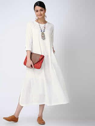 White Cotton Slub Dress with Pintucks