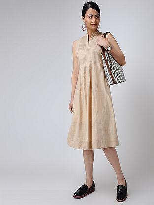 Beige Cotton Slub Dress with Pintucks