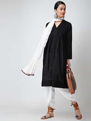 Black Front-open Cotton Slub Kurta with Pintucks