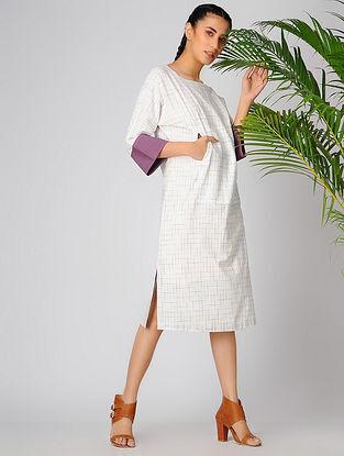 Ivory-Purple Cotton Khadi Dress