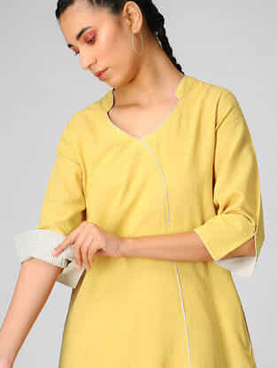 Yellow Cotton Khadi Dress