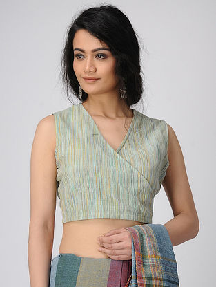 Cyan Handloom Cotton Blouse