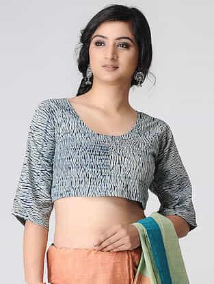 Ivory-Indigo Shibori Cotton Blouse by Jaypore