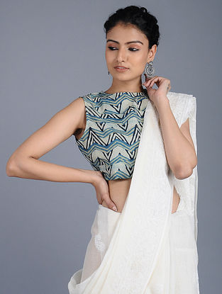 Ivory-Indigo Ajrakh-printed Cotton Blouse