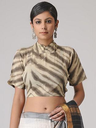 Beige-Brown Shibori Cotton Blouse by Jaypore