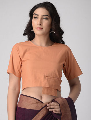 Coral Natural-dyed Cotton Blouse with Pocket