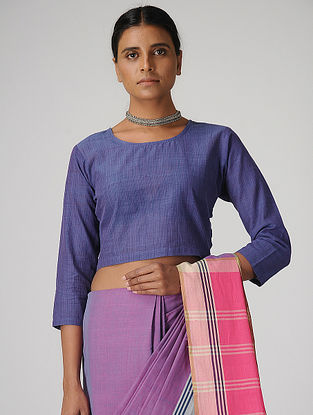Blue Handloom Cotton Blouse by Jaypore