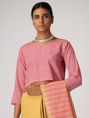 Pink Handloom Cotton Blouse by Jaypore
