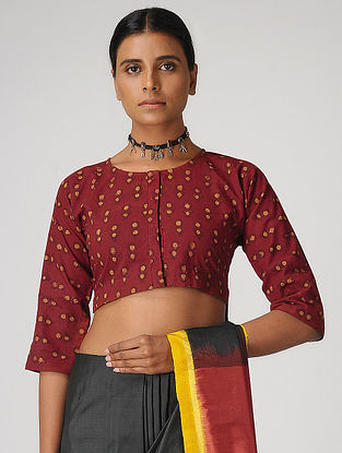 Maroon Block-Printed Cotton Blouse by Jaypore