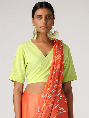 Lime Handloom Cotton Wrap Blouse by Jaypore
