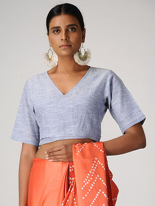 Blue Handloom Cotton Wrap Blouse by Jaypore