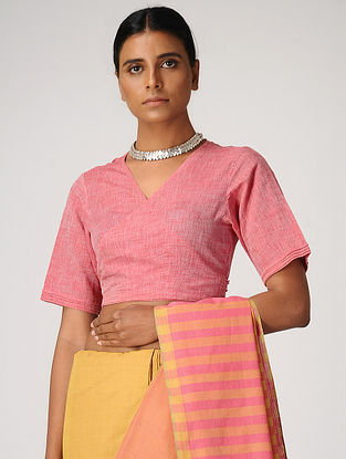 Pink Handloom Cotton Wrap Blouse by Jaypore
