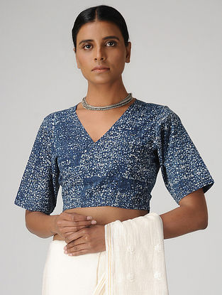 Indigo Dabu-printed Cotton Wrap Blouse by Jaypore