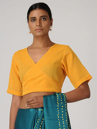 Yellow Handloom Cotton Wrap Blouse by Jaypore