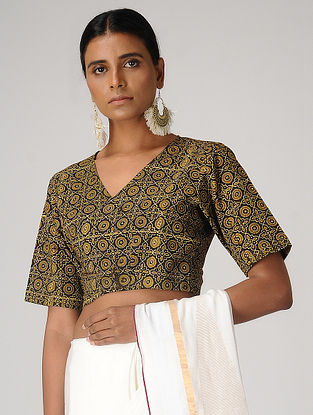 Brown-Mustard Ajrakh-printed Cotton Wrap Blouse by Jaypore