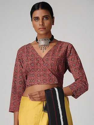Maroon Ajrakh-printed Cotton Blouse with Buttons by Jaypore