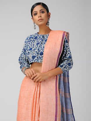 Indigo Block-printed Cotton Blouse