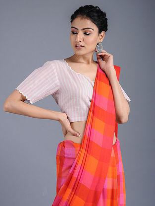 Ivory-Pink Handloom Cotton Blouse