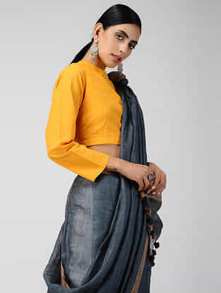 Yellow Handloom Cotton Blouse with Tie-up