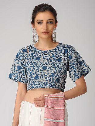 Indigo-Ivory Dabu-printed Cotton Blouse