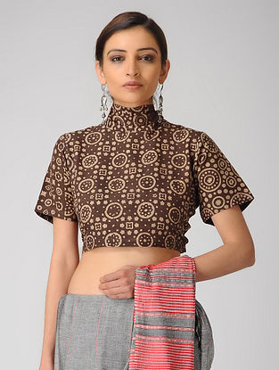 Brown Printed Cotton Tie-up Blouse