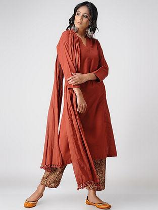 Red Handloom Cotton Kurta with Pockets by Jaypore