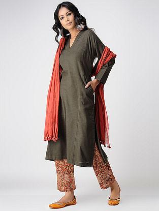 Taupe Handloom Cotton Kurta with Pockets by Jaypore