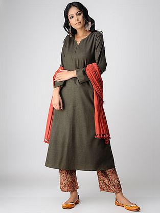 Taupe Handloom Cotton Kurta by Jaypore