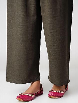 Taupe Elasticated-waist Handloom Cotton Palazzos by Jaypore